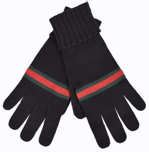 Gucci Gucci Men's 294732 BLACK Green Red Web Stripe Wool Gloves Mittens L