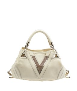 Versace Crystal Leather Tri-pocket Satchel in Cream