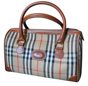 Burberry Early Looks Unused Satchel in camel leather/Nova Check plaid fabric