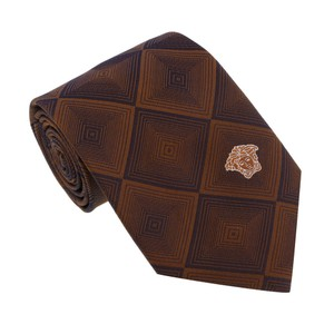 Versace Versace Brown Woven Diamond Vector Tie