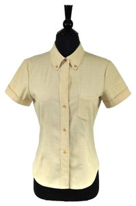 Theory Wool Button Short Sleeve Casual Work Button Down Shirt Beige