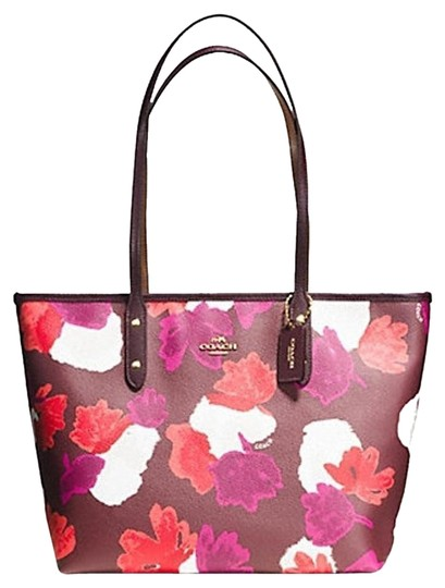 Coach City Leather Printed Floral Tote in Burgundy