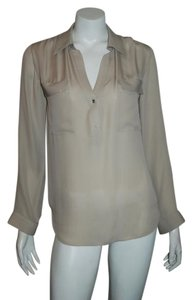 L'AGENCE Silk Long Sleeve Holiday Top BEIGE