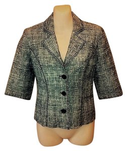 White House | Black Market Tweed Embroidered Black and White Blazer