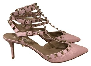 Valentino Rockstud Studded Strappy pink Pumps