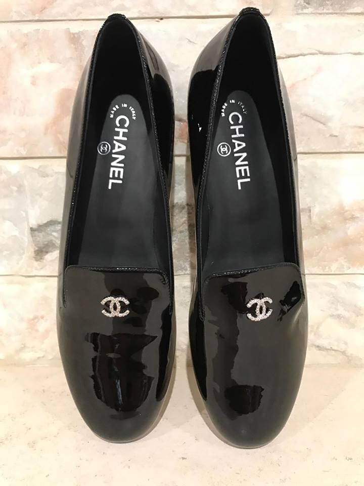 5fd5b293d Chanel Black Patent Leather Pearl Cc Oxford Loafer Flats Size US ...