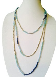 Nakamol Blue/Silver Long Multi-Strand Czech Crystal Necklace
