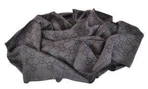 Gucci Gucci 165903 XL Charcoal Grey Wool Silk GG Guccissima Logo Scarf Shawl