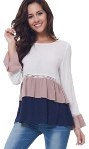 CLOCOLOR Top Blue/Cream/Mauve