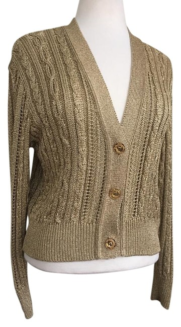 Item - Gold Metallic Cable Knit Signature Buttons Cardigan Size 8 (M)