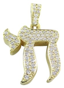 14KT YELLOW GOLD PENDANT CHAI JEWISH FAITH PROTECTION 72 DIAMONDS 1.50