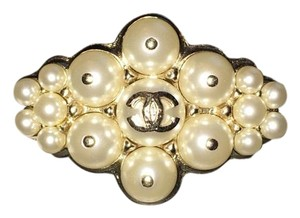 Chanel CHANEL 2015 CC Brasserie Brushed Gold Bubble Pearl Brooch