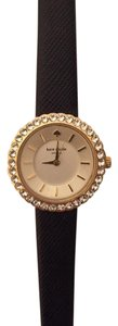 Kate Spade Kate Spade Black Saffiano Leather Crystal Watch With Gold Dial