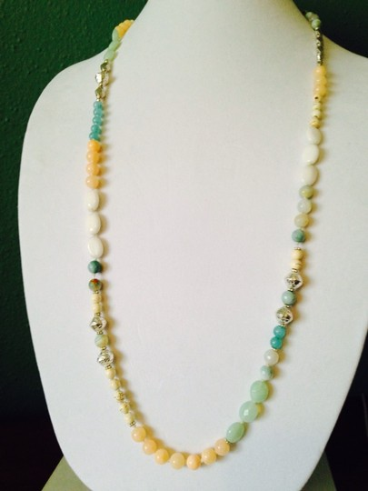 Nakamol Peach/Turquoise Long Mixed-Stone Necklace