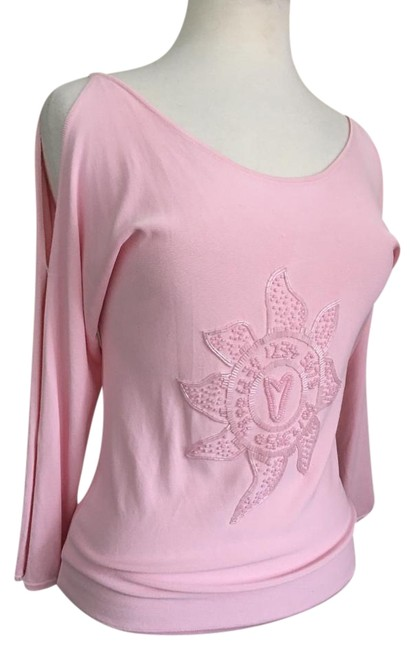 Item - Sunburst Beaded Front Open Long Sleeve Scoop Neck and Back Pink Top