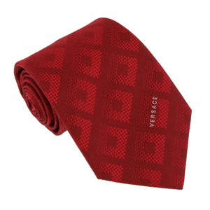 Versace Versace Red Woven Tonal Check Tie