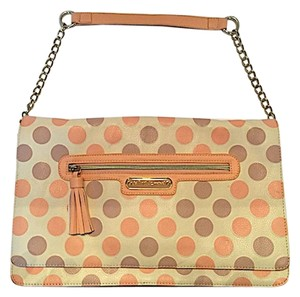 Betsey Johnson Polka Dot Salmon & Grey Clutch