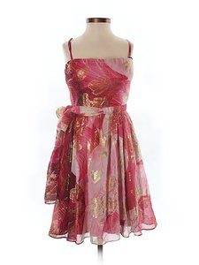 Aidan Mattox Silk Metallic Print Empire Waist Chiffon Dress