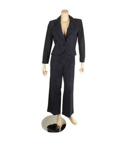 Chanel Chanel Dark Navy Blue Suede Pant Suit, Size 42 (101318)