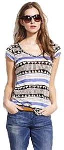 Madewell T Shirt Black, white, and blue