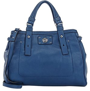 Marc by Marc Jacobs Leather Turnlock Silver Hardware Leather Tote in Deep Blue