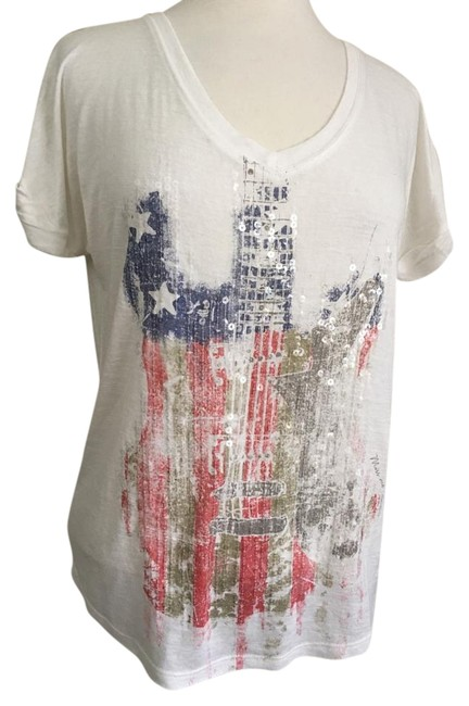 Item - White Sequin Embellished Guitar Red Blue & Tan Tee Shirt Size 4 (S)