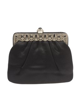 Judith Leiber Satin Black Clutch