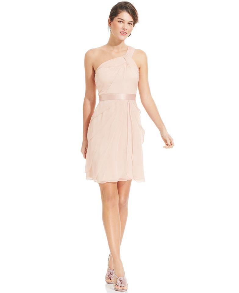 Adrianna Papell Blush Chiffon One Shoulder Flutter Feminine Bridesmaid Mob Dress Size 6 S