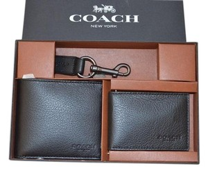 Coach Coach F64118 Compact ID Wallet In Sport Calf Leather Black