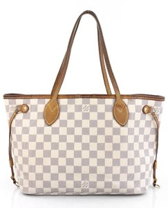 Louis Vuitton Neverfull Azur White Neverfull Checkboard Check Boxes Tote in Damier Azur