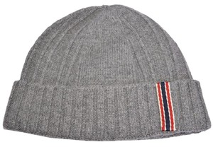 Gucci Gucci Men's 309854 Grey 100% Cashmere Blue Red Web Beanie Ski Hat M