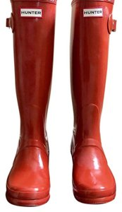 Hunter Tall Glossy Clementine Orange Boots