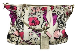 Coach Multi color: cream, fuchsia, hot pink, gold Travel Bag