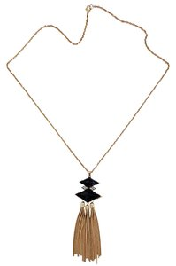 Other Black Diamond Shape Stone Tassel Necklace