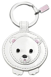 Coach COACH White Leather Bear w/ Mink KEY RING KEYCHAIN KEYFOB