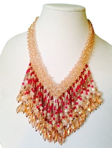 Nakamol Shades Of Pink Mixed Bead Fringe Collar Necklace