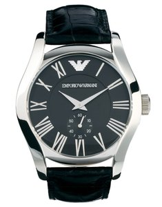 Emporio Armani EMPORIO ARMANI Black Leather Dial Men's Watch AR0643