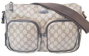 Gucci Brown Canvas Monogram Travel Messenger Cross Body Bag