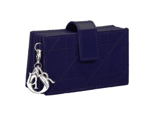 Dior Lady Dior Gusseted cardholder Midnight Blue Pearlized Lambskin Leather