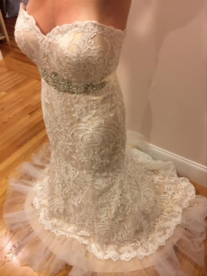 Simone Carvalli Ivory Lace 90253 Formal Wedding Dress Size 14 (L ...