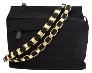 Salvatore Ferragamo Leather Casual Gold Tone Strap Nylon Shoulder Bag