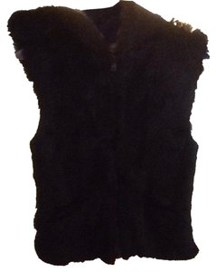 Shine new york genuine rabbit fur with pockets and fur lined hood Vest