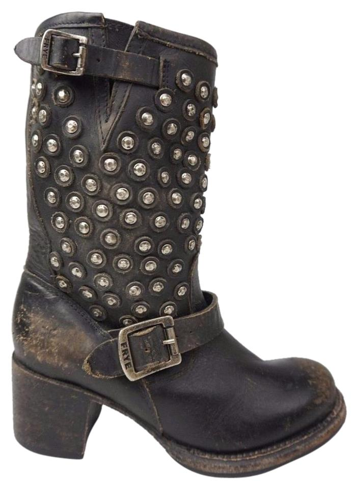 Frye Black Vera Disc Stud Boots/Booties Short Leather Motorcycle Women's Boots/Booties Stud b26fc0