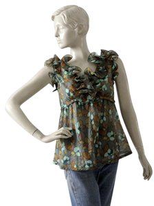 Marc Jacobs Sleeveless Ruffle Floral Top Green