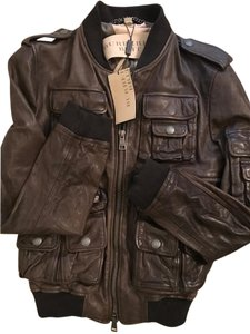 Burberry Aviator Leather Plaid Brown Jacket