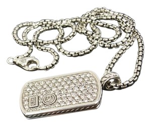David Yurman David Yurman Sterling Silver LARGE 2.50ct White Diamonds Pave Dog Tag