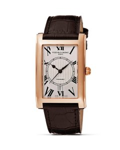 Frédérique Constant ROSE GOLD Plated Carree Automatic Men's Date. CLEAR BACK. Swiss.
