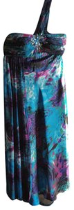 Ignite Evenings by Carol Lin Polyester Blue Maxi Bling Dress