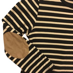 Monteau Los Angeles short dress Black and Off-White stripes, Tan Suede elbows on Tradesy