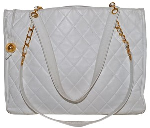 Chanel Shoulder Quilted Lambskin Tote in White